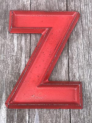 8'' Vintage Mid Century Adler Silhouette Red Cast Metal Marquee Sign Letter Z