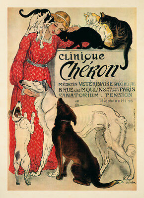 Clinique Cheron Medecin Veterinaire Jugendstil Pension Katzen Plakate A3 384
