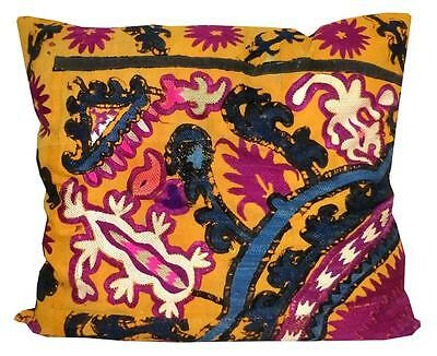 Antique Marvelous Uzbek Silk Handmade Embroidered Suzani Pillow Case A10287