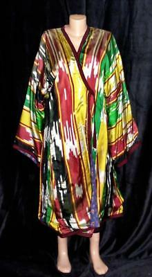 Traditional Uzbek Tajik Handmade Natural Silk Ikat Colorful Chapan Kaftan A11618