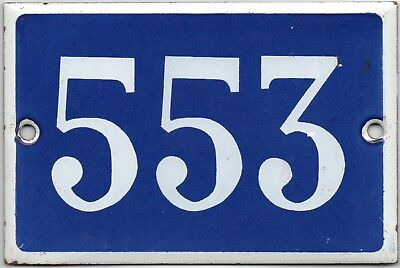 Old blue French house number 553 door gate plate plaque enamel steel metal sign