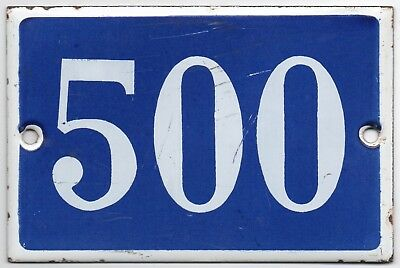 Old blue French house number 500 door gate plate plaque enamel steel metal sign