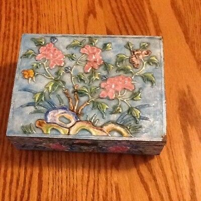Vtg Antique Chinese  Enamel  Pearlized Cloisonne Box Turquoise Hinged Lid 6X5