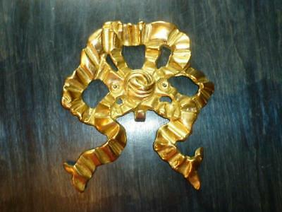 """Vintage 1980's Solid Brass Large 7.5"""" X 8"""" Art or Wreath Bow Wall Hook"""
