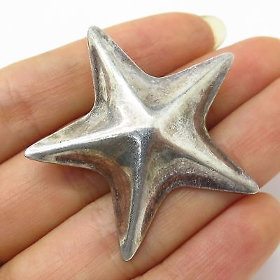 Vtg Mexico 925 Sterling Silver Star-Shaped Large Hollow Pin Brooch / Pendant