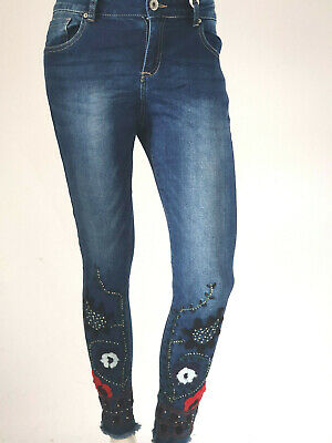 Damen Jeans Hose Stretch Boho Ethno Skinny Hüfthose Röhrenjeans Patches Slim Fit