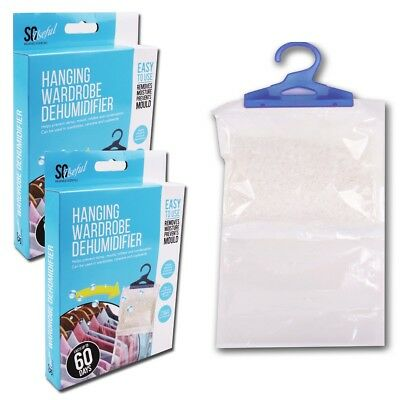 2x LARGE WARDROBE DEHUMIDIFIER BAGS Prevent/Absorb Damp/Mould/ Mildew/Moisture
