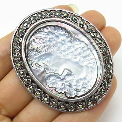 Vtg 925 Sterling Silver Marcasite & MOP Victorian Lady Cameo Large Pin Brooch
