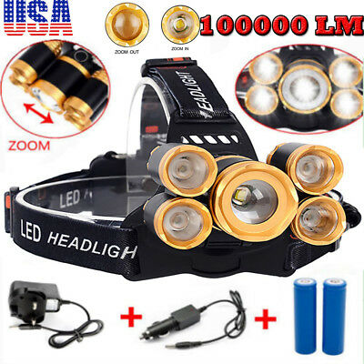 100000LM 5-LED Zoom LED 18650 Headlamp Head Light Waterproof Torch Charger USB