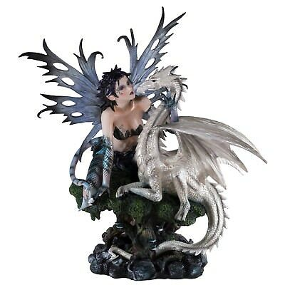 """Large Fairy With Tail and Scales White Dragon Figurine Statue 18"""" High New!"""