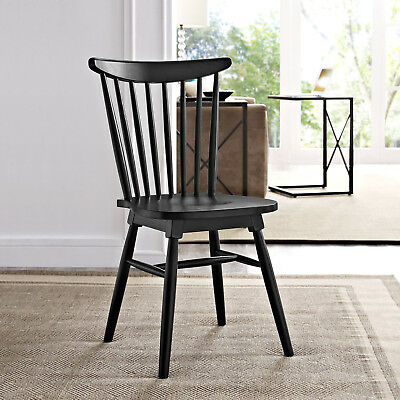 Modern Farmhouse Spindle Back Solid Elm Wood Windsor Dining Side Chair in Black
