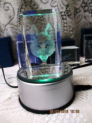 LED Stand for Crystal & Glass Art Rotates w/Four Colors Plus 5 Laser 3D Wolves