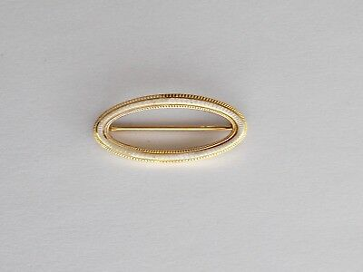Vintage Marguerite 14K Yellow & White Gold Oval Bar Pin