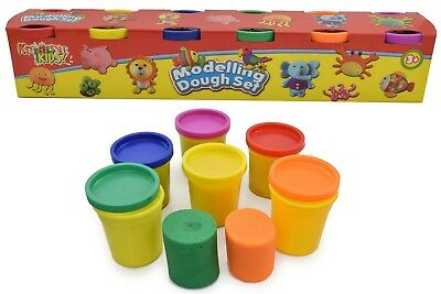 Kids Fun Play Dough Pack of 6 Large Doh Tubs Modelling Pots Childrens Play set