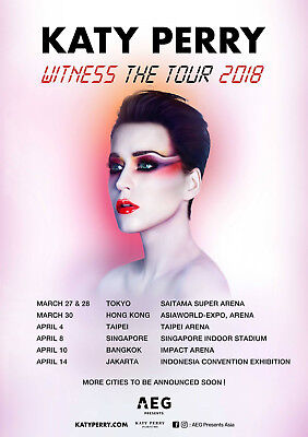 """KATY PERRY """"WITNESS THE TOUR 2018"""" ASIAN CONCERT POSTER - Pop, Rock Music"""
