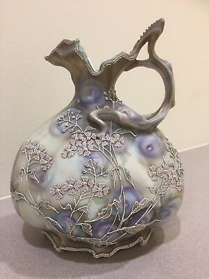 "Antique Nippon Royal Plum Moriye Moriage 9"" Ewer Pitcher"