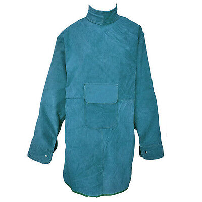 "47.2""L Leather Welding Apron Heat Insulation Protection Safety Clothes Coat Blue"