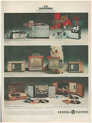 1963 Vintage Print Ad GE Entertainers General Electric TVs Stereos Record Player