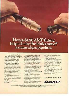 1980 vintage print ad AMP Connector Fittings for Gas Pipeline Harrisburg, PA