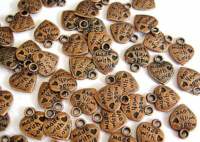 100 Anhänger Charms HERZ Made with Love Farbe kupfer #S234