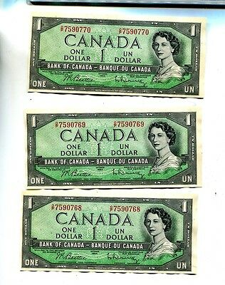 1954 $1 Canada Currency Note Lot Of 3 Consecutively Numbered Notes Au 2470J