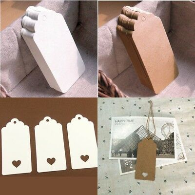 30PCS Kraft Paper Gift Tags Label Blank Hang Luggage Strip Tag Card Bookmark DIY