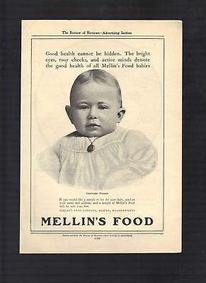 1904 Old Magazine Ad Mellin's Food Baby Food Baby Wearing a Pendant