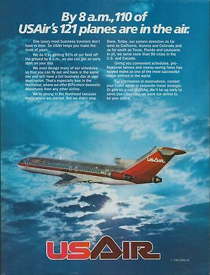 1984 Original Vintage Print Ad USAir 110 Planes in the Air by 8 AM Jet Airliner