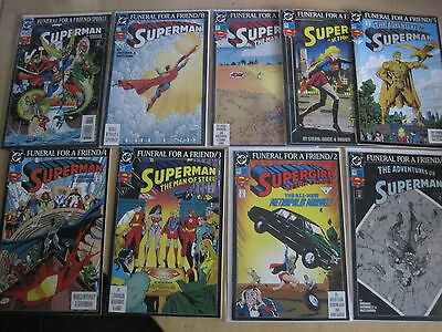 SUPERMAN : FUNERAL FOR A FRIEND. COMPLETE 9 PART SERIES. # 1 2nd print.  DC.1993