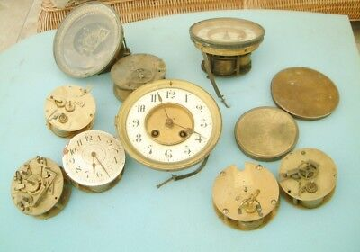 Clock makers Huge Lot French Clock Movements sold as spare PARTS repairer