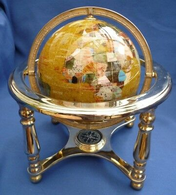 Gemstone world map globe compass in brass cradle gemstone world map globe compass in brass cradle gumiabroncs Image collections