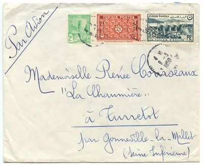 Tunisia 1950 Airmail Cover Tunis to Turretot France, Scott 185 198B 207