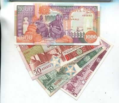 Somalia 1987   Currency Note Lot Of 4 Different Cu 1123L