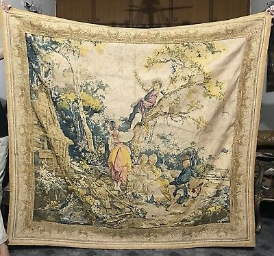 Antique French Aubusson Style Very Large Wall Hanging Tapestry