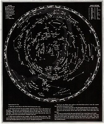 1942 Vintage STAR and CONSTELLATION Map Chart Antique ASTRONOMY Print  5228
