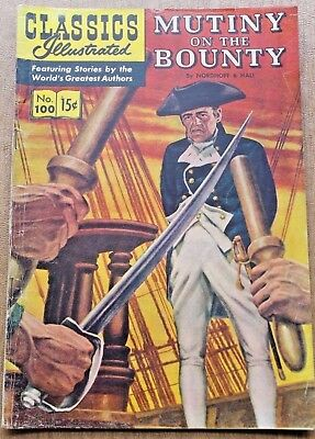 Classics Illustrated # 100: Mutiny On The Bounty - Oct. 1952 - Nordhoff & Hall