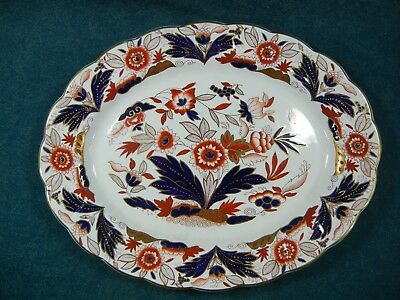 "Booths Dovedale A8044 Rust and Blue Imari 13 3/4"" Oval Serving Platter"