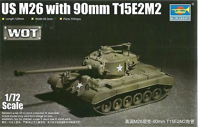 Trumpeter 1/72 (20mm) M26(T26E3) Pershing Tank With 90mm T15E2M2 (WOT)