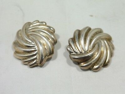 Pair Of Large 70'S Sterling Silver Mexican Seashell Swirl Earrings