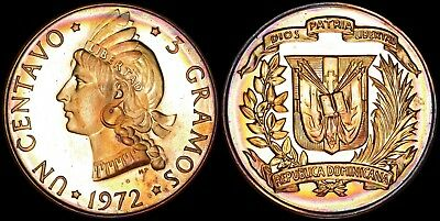 Dominican Republic 1 Centavo 1972 (Proof) *only 500 Minted & Toned*