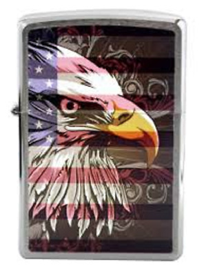 Zippo Outdoors 28652 Bald Eagle/Flag Classic Chrome Finish Lighter