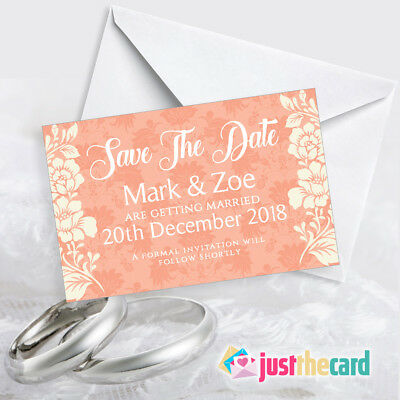 Personalised Save The Date Cards Peach Theme Wedding