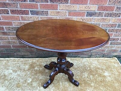 antique victorian mahogany oval tilt top table turned column on cabriole legs