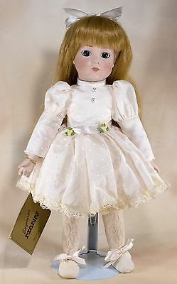 "Seymour Mann Collector's Porcelain Doll 15"" Blue Eyes Red Hair 1985"
