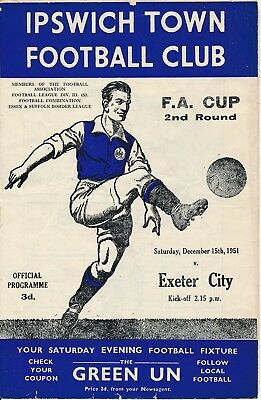 Ipswich Town v Exeter City (FA Cup) 1951/2 - Football Programme
