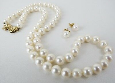 14k Gold 18 Inch 6.7mm strand Mikimoto Blue Lagoon pearls & post earrings