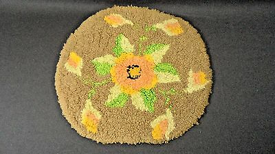 Vintage Hand Made Dollhouse Round Hook Style Rug