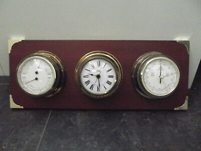 (868) Staiger maritime Wetterstation  Uhr Barometer Thermometer Messing Holz