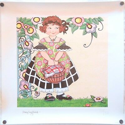 Mary Engelbreit 1997 Girl & Basket Signed Numbered 722/750 Limited Edition Print