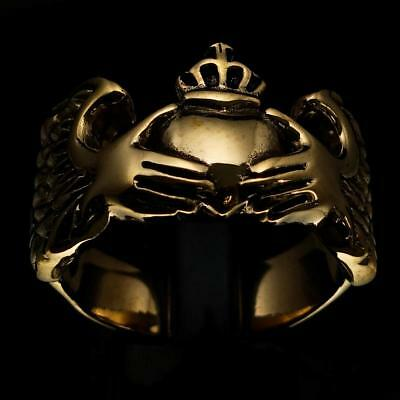 Celtic Bronze Claddagh Mens Ring Irish Heart With Crown In Winged Hands Any Size